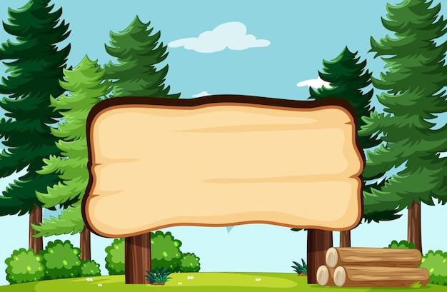 Pusta tablica banner w scenerii parku przyrody