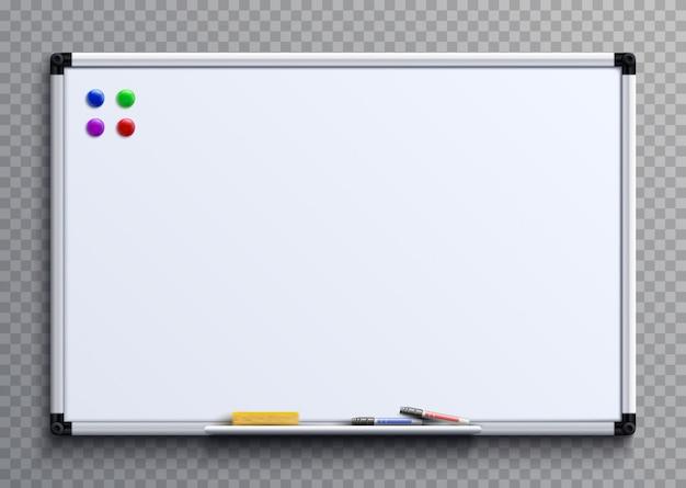 Pusta tablica z pisakami i magnesami. biznesowej prezentaci biurowa biała deska odizolowywająca