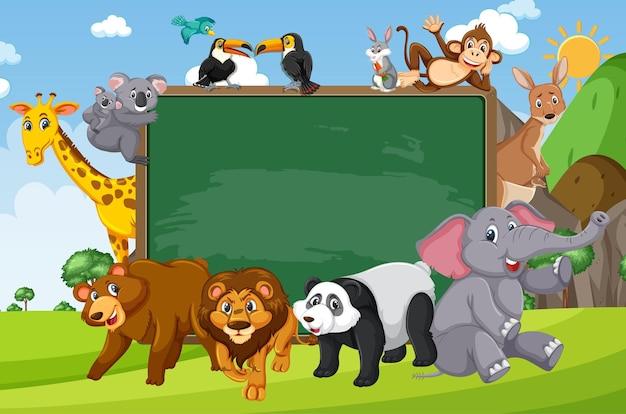 Pusta tablica z różnymi dzikimi zwierzętami w lesie