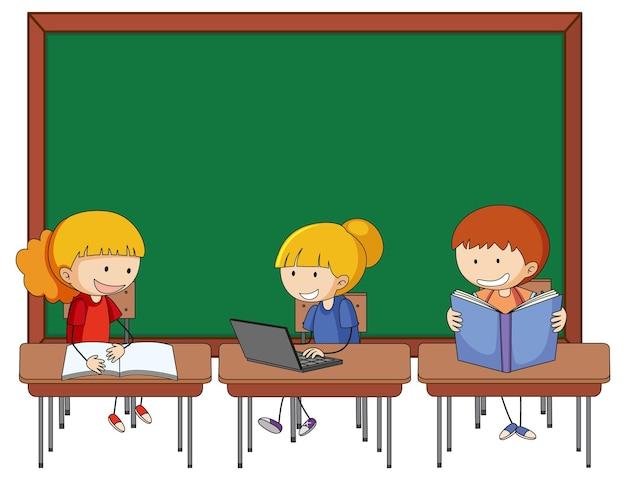 Pusta tablica z wieloma postaciami z kreskówek dla dzieci
