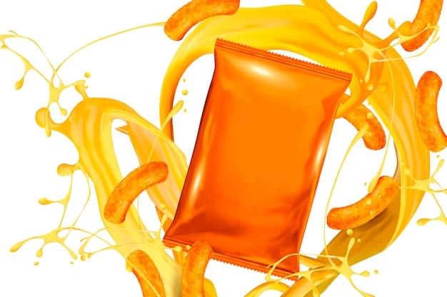 Pusta torba z folii pomarańczowej z sosem serowym i lokami