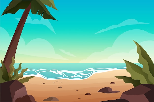 Pusta tropikalna plaża z palmami. krajobraz oceanu. letnie wakacje na tropikalnej wyspie.