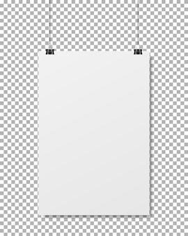 Pusta ulotka. realistyczny wiszący pusty papier
