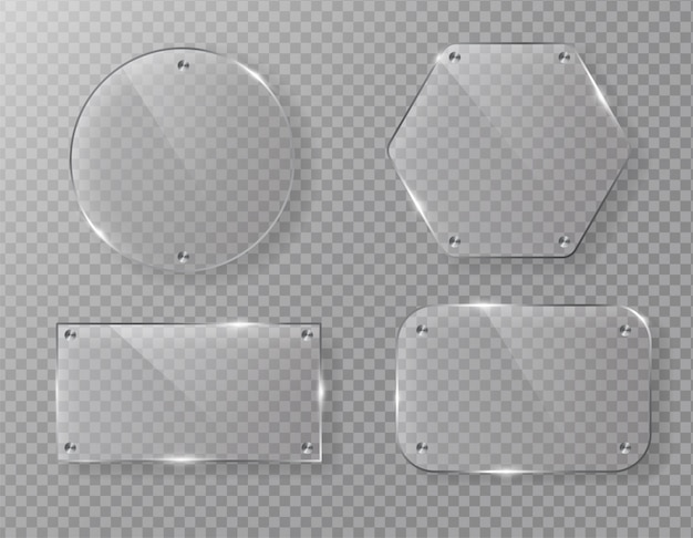 Pusta wektorowa szklana ramy etykietka na przejrzystym.