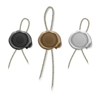 Pusta woskowa pieczęć ze sznurkiem, pieczęć woskowa, zestaw ikon białego, złotego i czarnego wosku do pieczęci starych realistycznych znaczków etykiet.