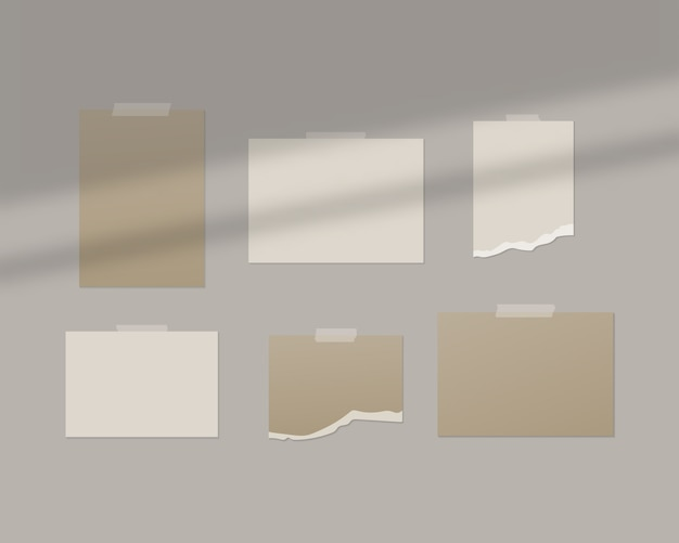 Puste arkusze białego papieru na ścianie z nakładką cienia.