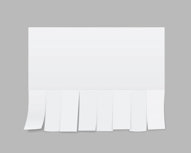 Puste arkusze reklamowe z papieru, odrywane odcinki.