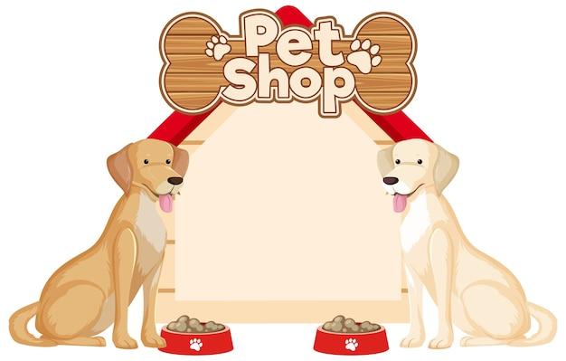 Puste banery domu psa z słodkie psy na białym tle