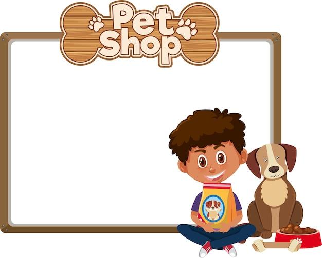 Puste banery z dzieckiem i słodkim psem i logo sklepu zoologicznego na białym tle