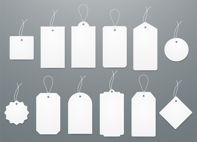 Puste białe etykiety papierowe w różnych kształtach.
