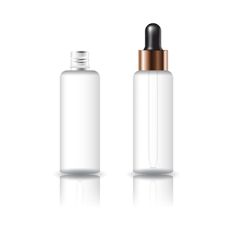 Puste białe jasne okrągłe butelki kosmetyczne z czarną pokrywą zakraplacza.
