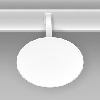 Puste białe okrągłe owalne papper wobbler cena reklamy z tworzywa sztucznego na białym tle na tle