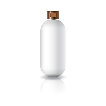 Puste białe owalne okrągłe butelki kosmetyczne z pokrywką.