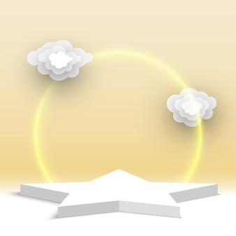 Puste białe podium z chmurami cokole gwiazda produkty wystawa platforma stoisko wystawowe wektor