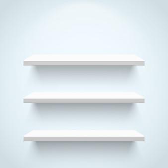 Puste białe półki