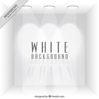Puste białe tło pokój z reflektorami