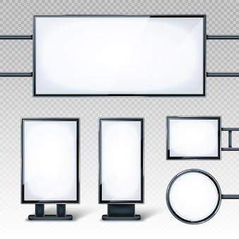Puste billboardy, puste białe ekrany lcd lub stojaki reklamowe. poziome, pionowe, okrągłe i prostokątne puste banery na przezroczystym tle, realistyczny zestaw 3d