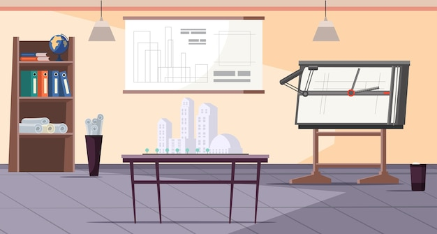 Puste biuro architekta wnętrz studio projektanta