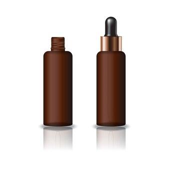 Puste brązowe jasne kosmetyczne okrągłe butelki