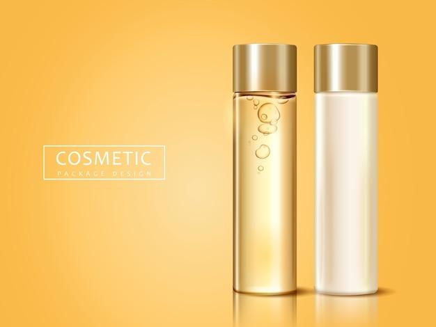 Puste butelki kosmetyczne do zastosowań, mogą służyć jako elementy projektu, złote tło