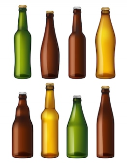 Puste butelki piwa. kolorowe szklane pojemniki, naczynia na brązowy i lekki statek oraz zielone piwo. butelki z realistycznymi ilustracjami