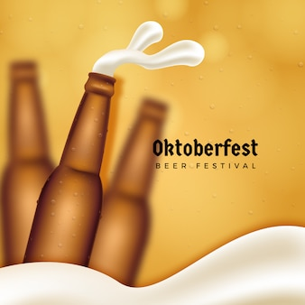Puste butelki piwa oktoberfest tło