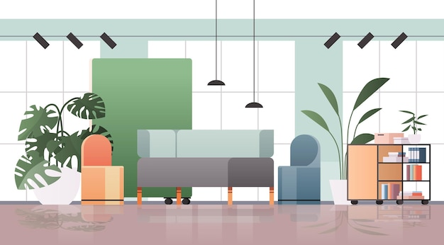 Puste centrum coworkingowe nowoczesne wnętrze pokoju biurowego kreatywna otwarta przestrzeń z poziomą ilustracją mebli