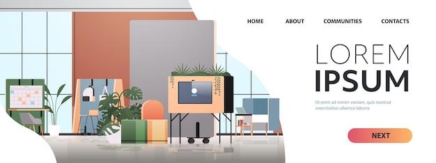 Puste centrum coworkingowe nowoczesne wnętrze pokoju biurowego otwarta przestrzeń z ilustracją poziomej przestrzeni do kopiowania mebli