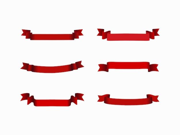 Puste czerwone wstążki zakrzywione zestaw na białym tle.