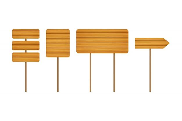 Puste drewniane banery i znaki drogowe. kolekcja szyldów drewnianych