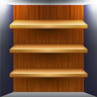 Puste drewniane półki na produkty