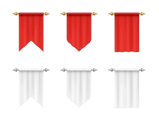 Puste flagi proporczyki białe i czerwone o różnych kształtach na białym tle