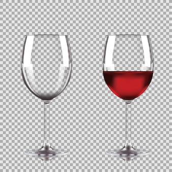 Puste i do połowy pełne kieliszki do wina