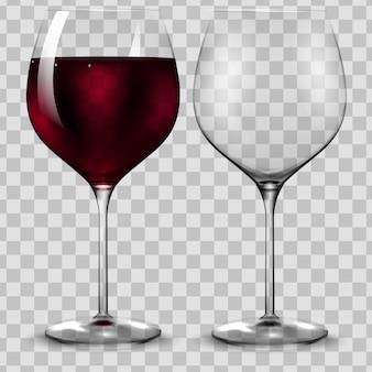 Puste i pełne przezroczystości kieliszek do czerwonego wina.