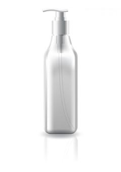 Puste jasne kwadratowe butelki kosmetyczne z czarną głowicą pompy do szablonu makiety produktu kosmetycznego.