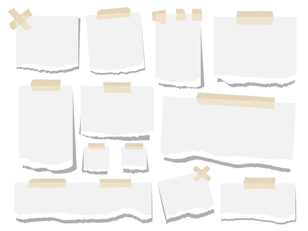 Puste kartki papieru podarte notatki. arkusze papieru biurowego na białym tle. kolekcja naklejek papierowych szablonów. ilustracja