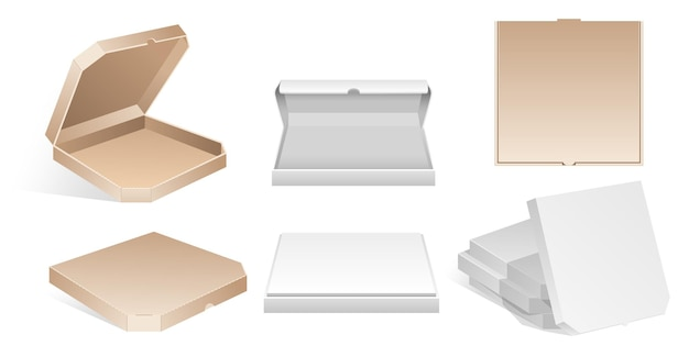 Puste kartonowe pudełka do pizzy - nowoczesne wektor na białym tle clipart na białym tle. sześć realistycznych, pustych, kartonowych pojemników do otwierania i zamykania na wynos. szablon izometryczny pustego opakowania