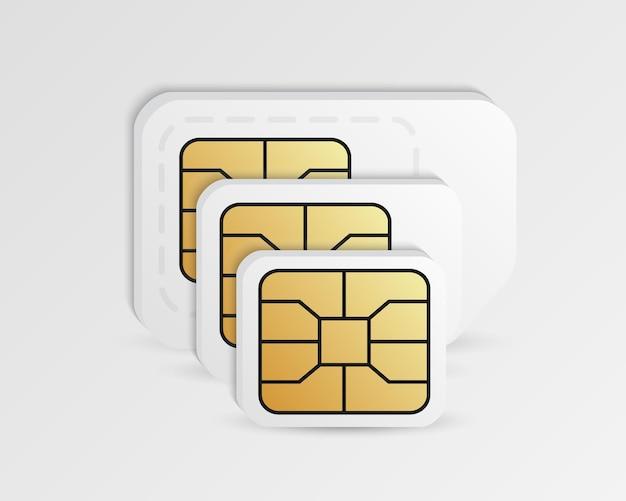 Puste karty sim w różnych rozmiarach.