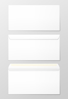 Puste koperty, 3 widoki. ilustracja wektorowa fotorealistyczna.