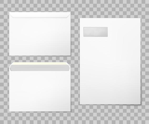 Puste koperty ustawione w 3 widokach