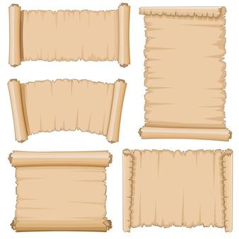 Puste kreskówki stare zwoje papirusu wektor zestaw papieru