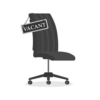 Puste krzesło biurowe z pusty znak. wolne miejsce pracy dla pracownika. koncepcja zatrudnienia, wolnych miejsc pracy i zatrudnienia. koncepcja wynajmu i rekrutacji firmy, pracownik wyszukiwania. wektor.