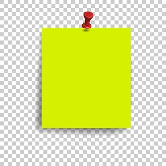 Puste kwadratowe strony notatnika i pinezkę