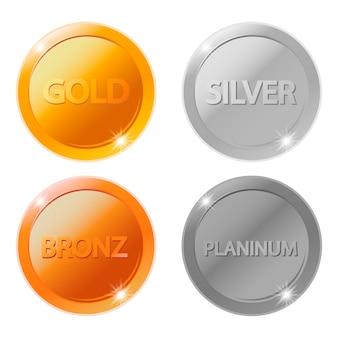 Puste medale złote, srebrne, brązowe i platynowe
