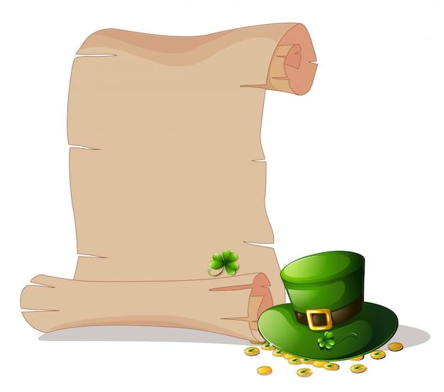 Puste miejsce obok zielonego kapelusza i żetonów