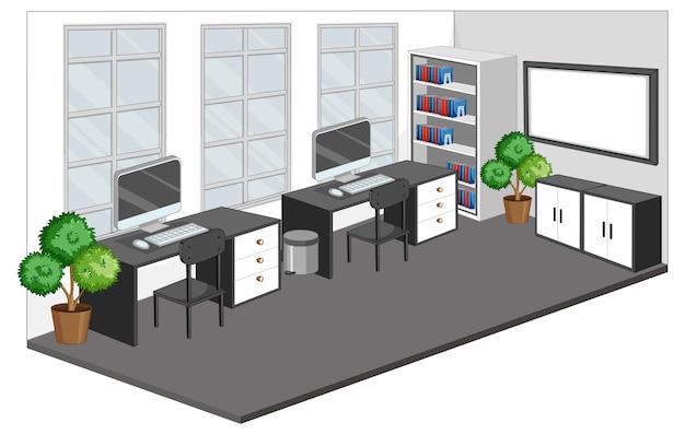 Puste miejsce pracy lub pokój biurowy na białym tle