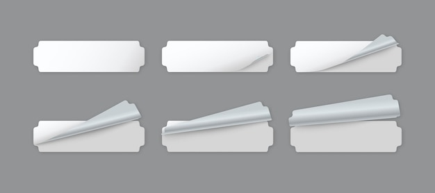 Puste naklejki papierowe z białą etykietą z zawiniętym rogiem