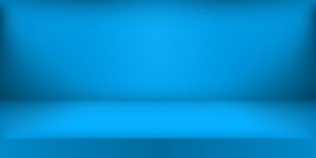 Puste niebieskie studio. tło pokoju, wyświetlacz produktu z miejscem na kopię do wyświetlania treści.