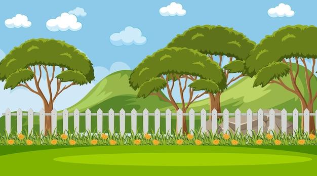 Puste niebo na scenie parkowej z wieloma drzewami i łąką