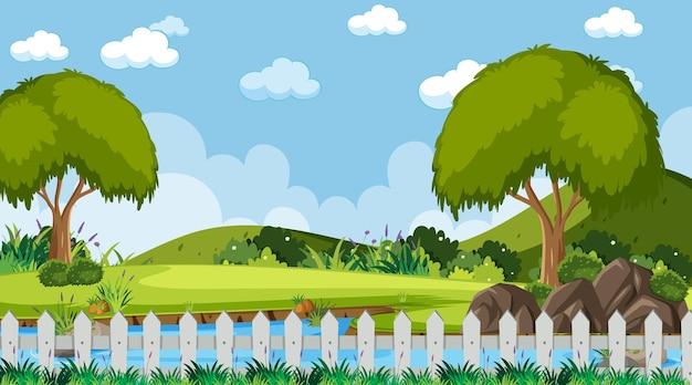 Puste niebo na scenie parkowej z wieloma drzewami